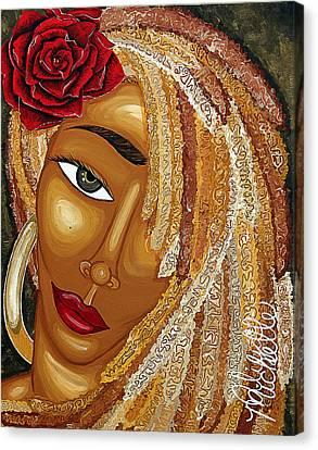 Gold Earrings Canvas Print - Honey Love by Aliya Michelle