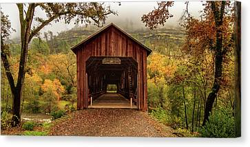Canvas Print featuring the photograph Honey Run Covered Bridge In Autumn by James Eddy