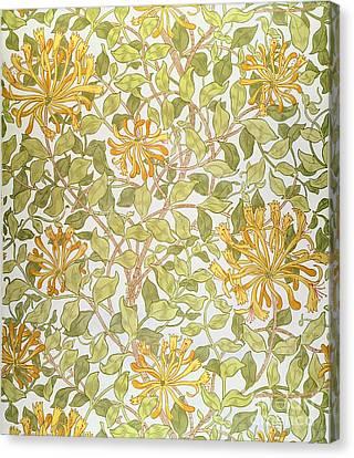 Honeysuckle Design Canvas Print by William Morris