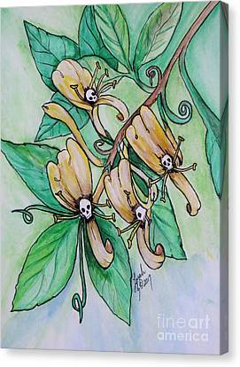 Honeysuckle Skulls Canvas Print