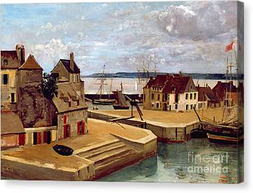 Honfleur  Houses On The Quay Canvas Print by Jean Baptiste Camille Corot