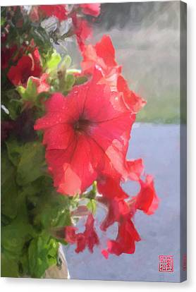Hong Hua Red Flowers Canvas Print