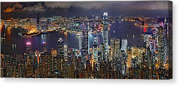 Hong Kong At Dusk Canvas Print by Jeff S PhotoArt