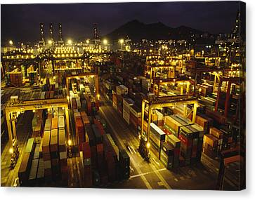 Hong Kong Container Terminal, One Canvas Print by Justin Guariglia