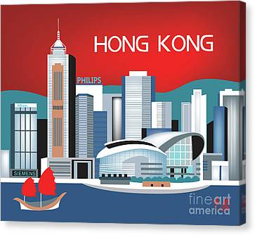 Hong Kong Horizontal Skyline Canvas Print by Karen Young