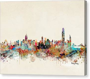 Canvas Print featuring the painting Hong Kong Skyline by Bri B