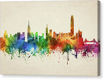 Hong Kong Skyline Chhk05 Canvas Print by Aged Pixel