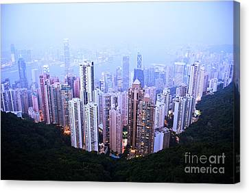 Hong Kong Skyline Canvas Print by Ray Laskowitz - Printscapes