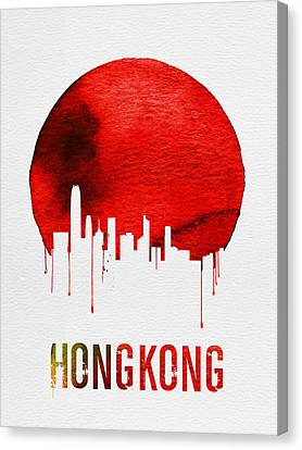 Hong Kong Skyline Red Canvas Print by Naxart Studio