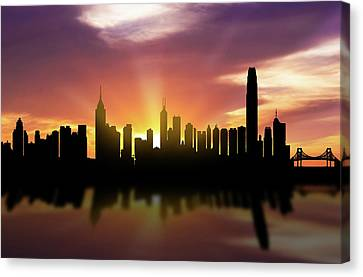 Hong Kong Skyline Sunset Chhk22 Canvas Print by Aged Pixel