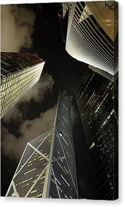 Hong Kong Skyscrapers At Night Canvas Print by Sami Sarkis