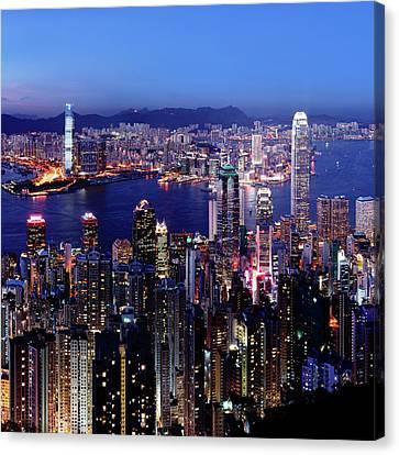 Hong Kong Victoria Harbor At Night Canvas Print by Sam