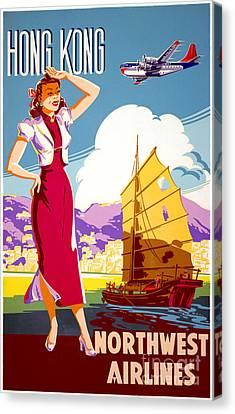 Hong Kong Vintage Travel Poster Restored Canvas Print