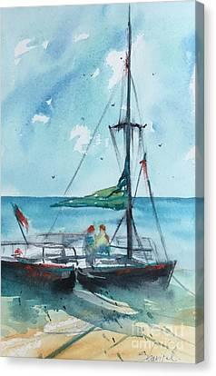Honolulu Catamaran Canvas Print by Carolyn Zbavitel