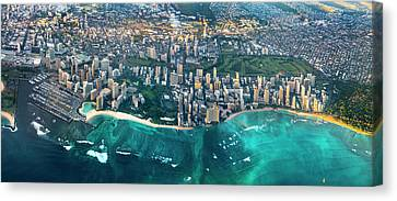 Honolulu From High Canvas Print by Sean Davey