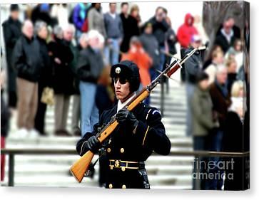 Honor Guard At Arlington Cemetery Canvas Print by April Sims