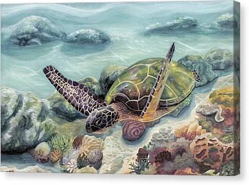 Honu In Midflight Canvas Print by Manupupule