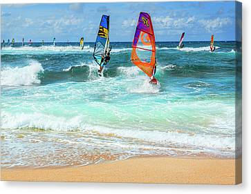 Ho'okipa Beach Wind Surfers Canvas Print