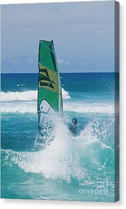 Hookipa Windsurfing North Shore Maui Hawaii Canvas Print by Sharon Mau
