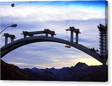 Hoover Dam Bridge Under Construction Canvas Print