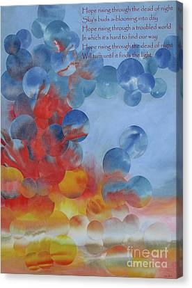 Hope Rising - With Poem Canvas Print by Jeni Bate