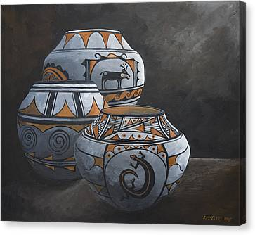 Hopi Pots Canvas Print by Jerry McElroy