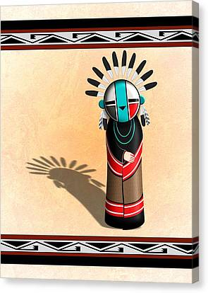 Hopi Sun Face Kachina Canvas Print by John Wills