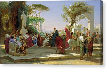 Horatius Reading His Satires To Maecenas Canvas Print by Fedor Andreevich Bronnikov