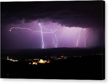 Canvas Print featuring the photograph Horizontal And Vertical Lightning by Ron Chilston