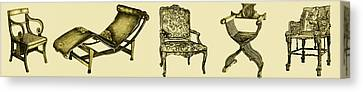 Horizontal Poster Of Chairs In Sepia Canvas Print