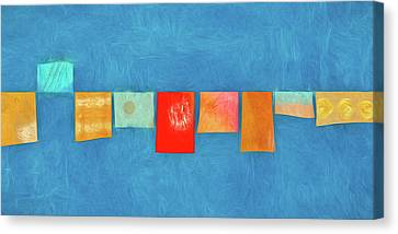 Horizontal String Of Colorful Prayer Flags 1 Canvas Print by Carol Leigh