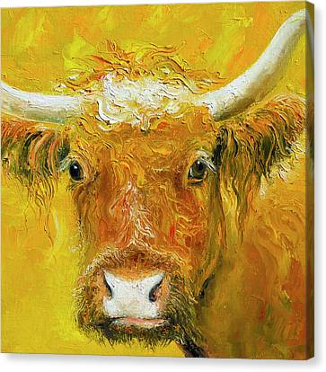 Cow Canvas Print - Horned Cow Painting by Jan Matson