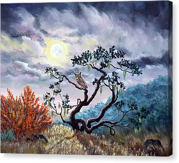 Man In The Moon Canvas Print - Horned Owl On Moonlit Oak Tree by Laura Iverson