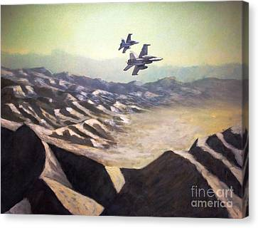 F-18 Canvas Print - Hornets Over Afghanistan by Stephen Roberson