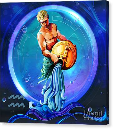 Horoscope Signs-aquarius Canvas Print by Bedros Awak