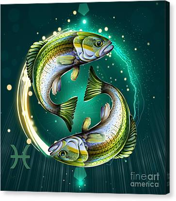 Horoscope Signs-pisces Canvas Print by Bedros Awak
