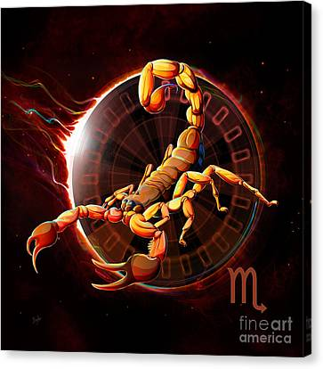 Horoscope Signs-scorpio Canvas Print by Bedros Awak