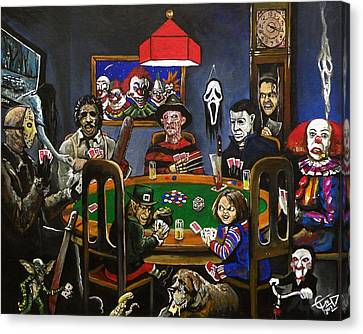 Horror Card Game Canvas Print by Tom Carlton