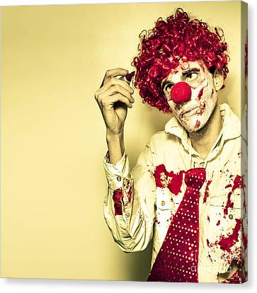 Horror Clown Writing Halloween Message In Blood Canvas Print by Jorgo Photography - Wall Art Gallery