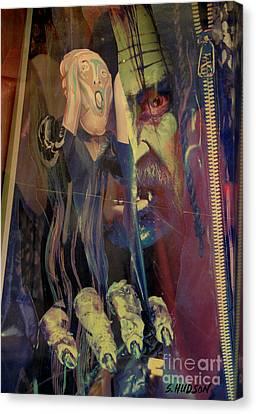horror fantasy art - The Green Scream Canvas Print by Sharon Hudson