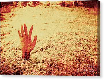 Horror Hand Of A Zombie Awakening Canvas Print by Jorgo Photography - Wall Art Gallery