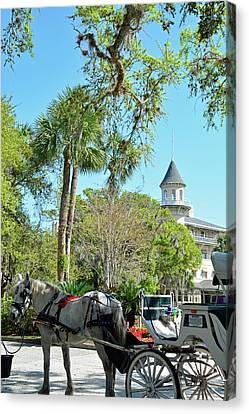 Horse And Carriage At Jekyll Island Club Hotel Canvas Print by Bruce Gourley