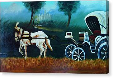 Horse And Carriage Canvas Print by Xafira Mendonsa