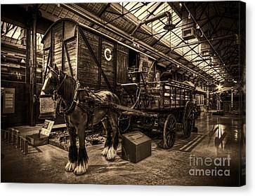 Horse And Cart Loading Train Canvas Print by Clare Bambers