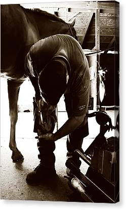 Horse And Farrier Canvas Print by Angela Rath