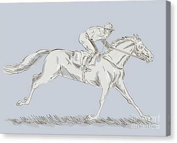 Horse And Jockey Canvas Print by Aloysius Patrimonio
