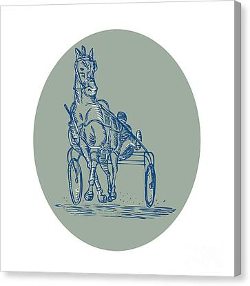 Horse And Jockey Harness Racing Etching Canvas Print by Aloysius Patrimonio