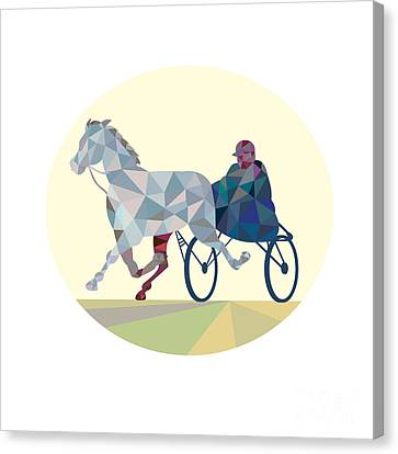 Horse And Jockey Harness Racing Low Polygon Canvas Print by Aloysius Patrimonio