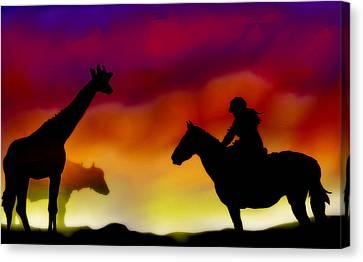 Horse And Rider Canvas Print by Anita Dios