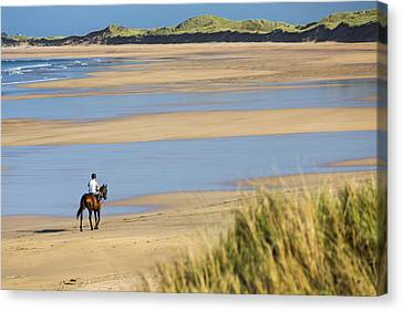 Horse And Rider On Beach With Grassy Canvas Print by Michael Interisano